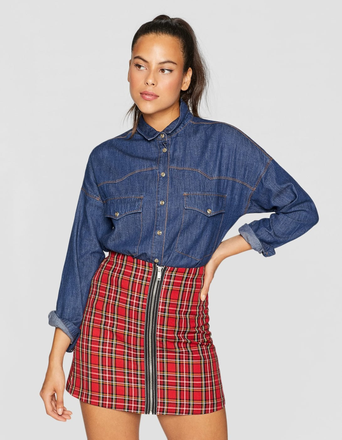 f3c047c04d REF. 4632/586-I2018 | Composition and care. Checked mini skirt with zip