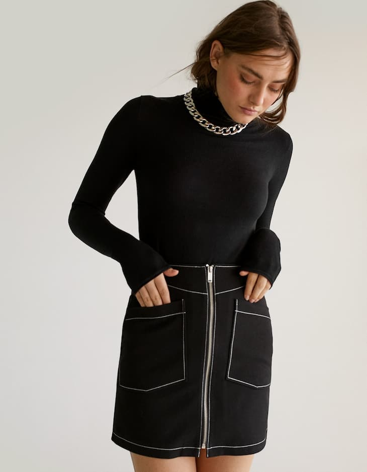 Zipped midi skirt