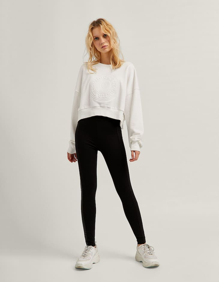 Faux leather leggings with side stripes