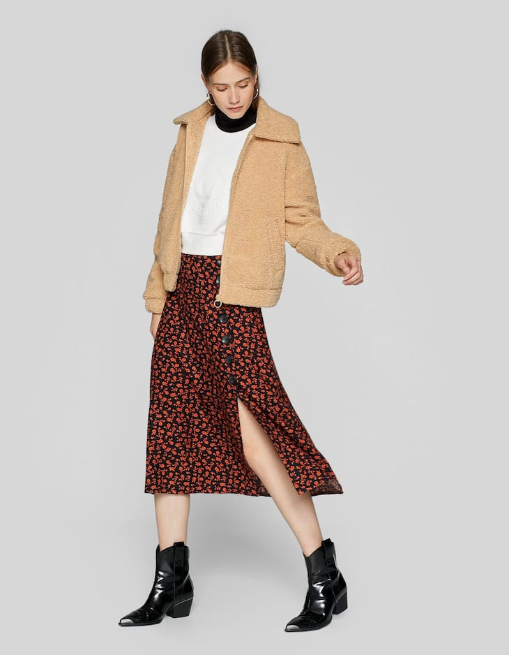 A-line midi skirt with side buttons