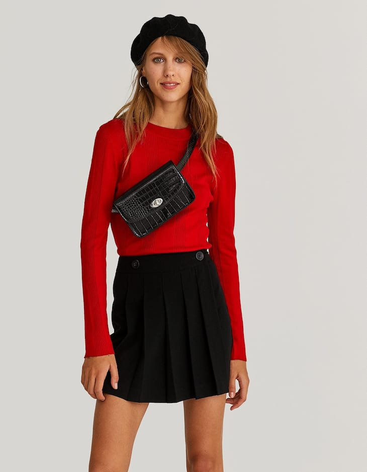 Box pleat skort