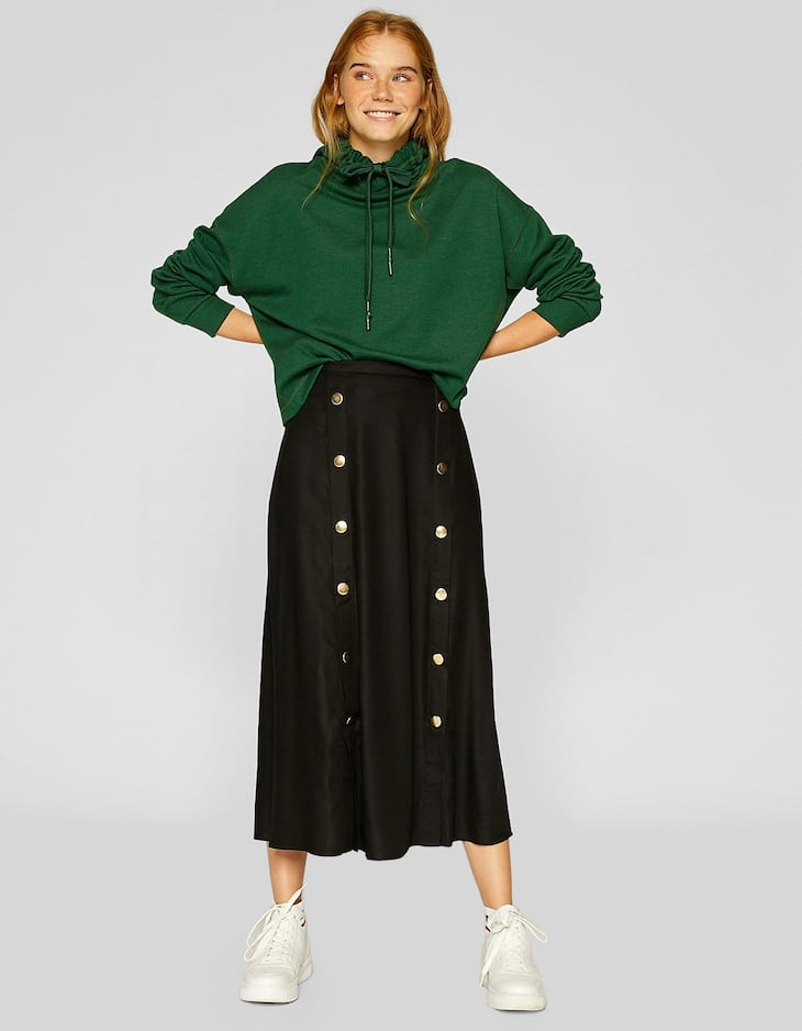 Midi skirt with double buttons