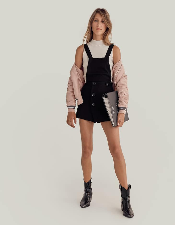 Double-breasted pinafore skort