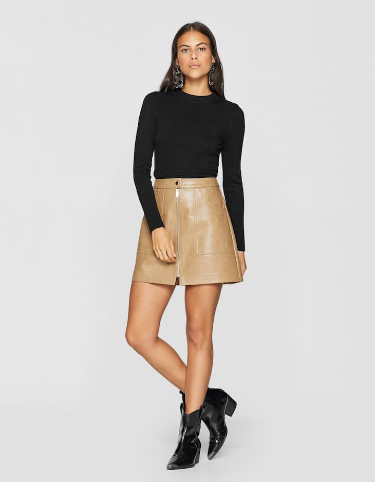 Faux leather skirt with zip