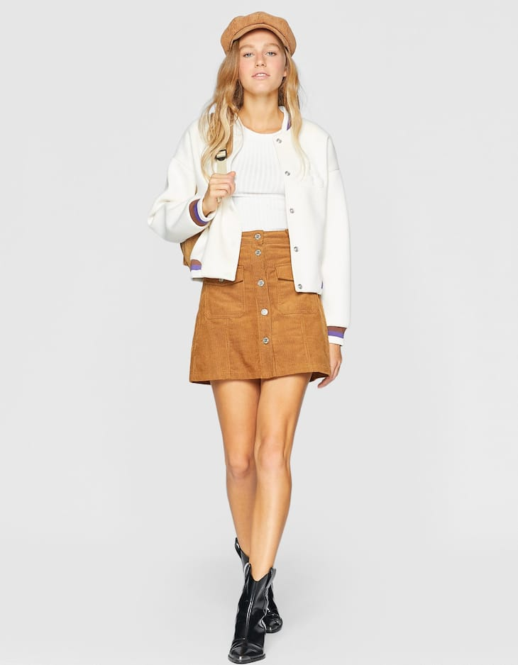 Corduroy skirt with buttons