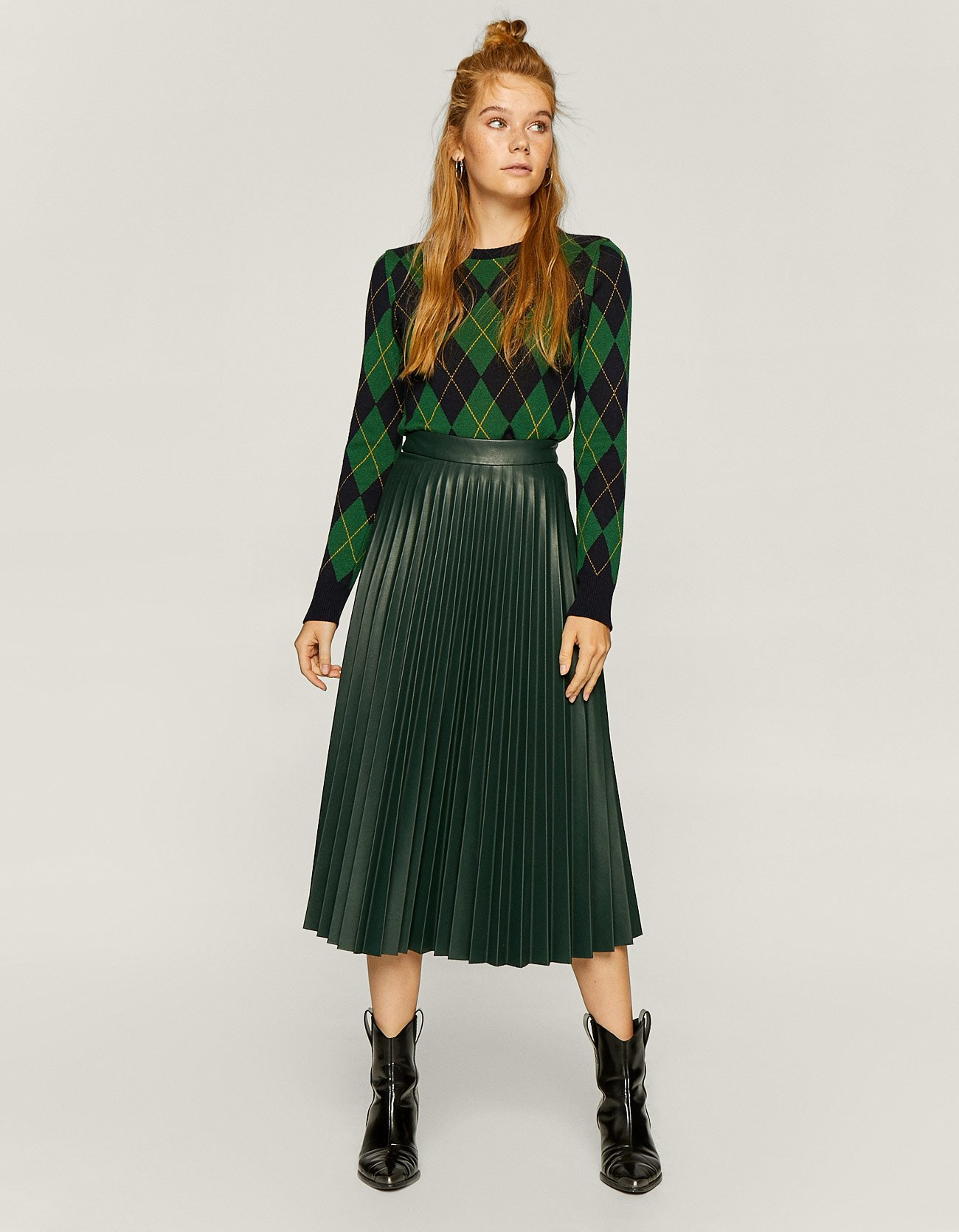 e727a76a01 Stradivarius Faux Leather Pleated Skirt In Bottle Green at £29.99 ...