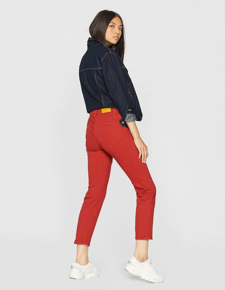 Coloured super high waist straight fit trousers
