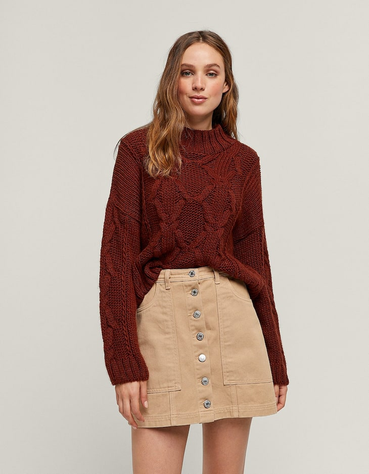 A-line button-up skirt