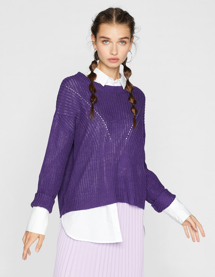 Sweater with knit stripes