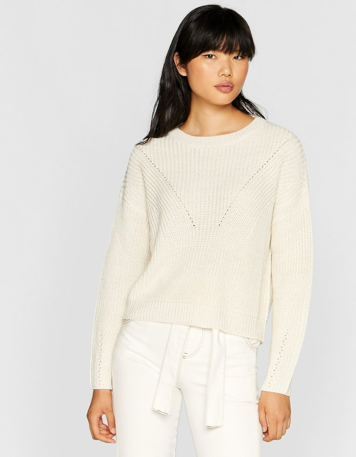 Basic sweater with knit stripes