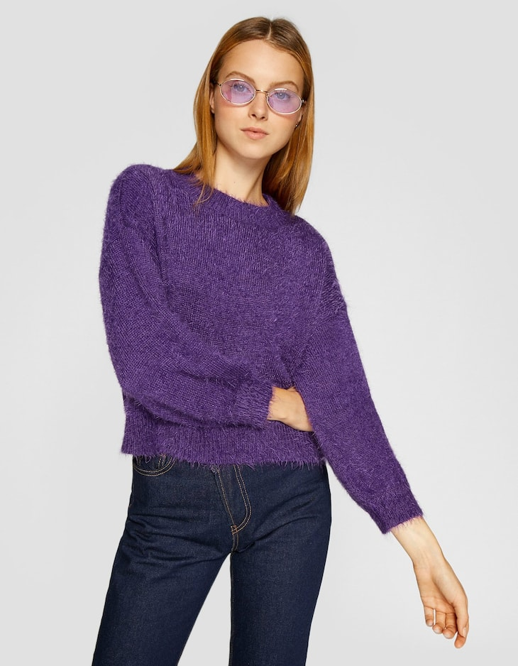 Faux fur sweater with balloon sleeves