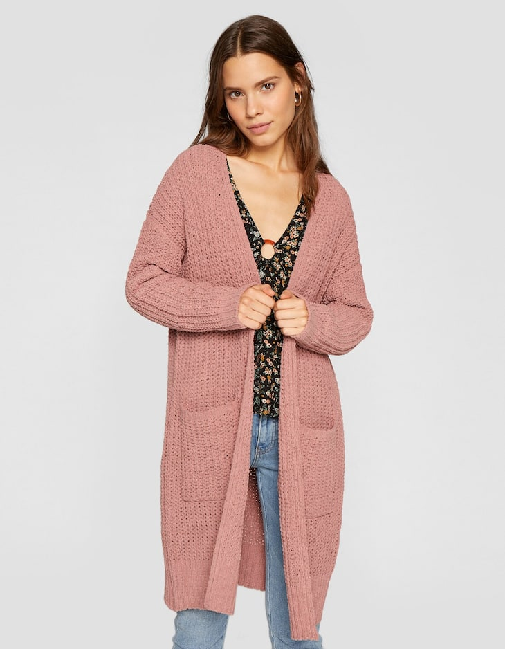 Rubberised chenille cardigan