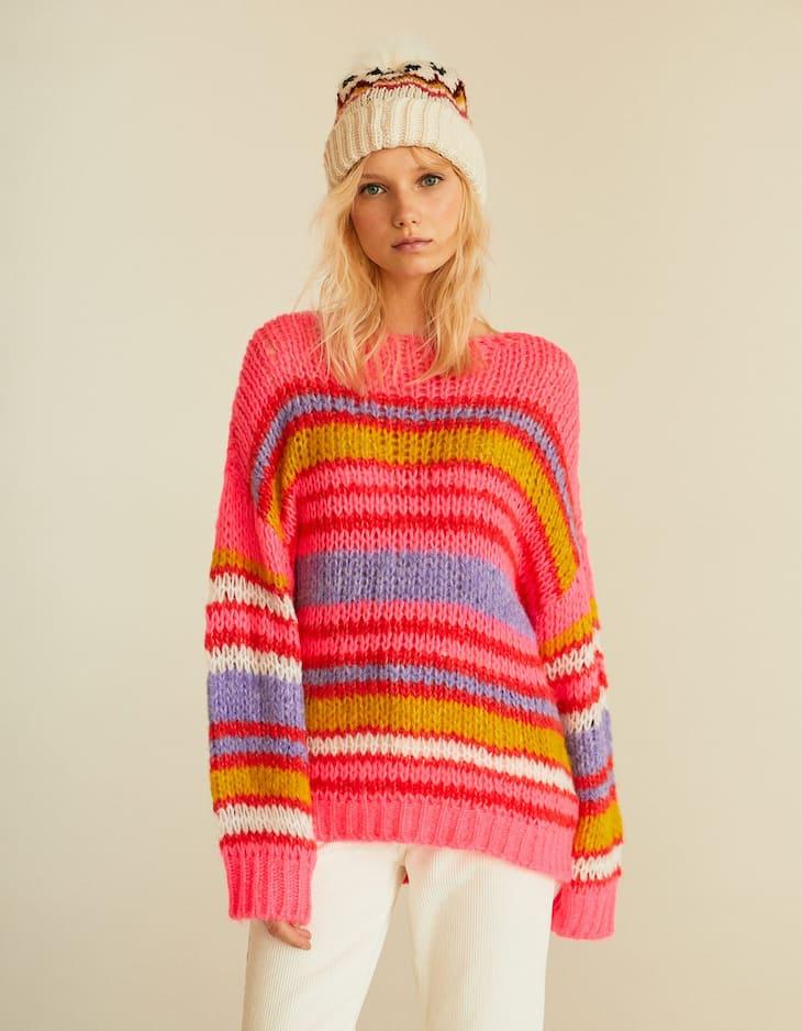Pullover mit Streifen in Neonfarbe