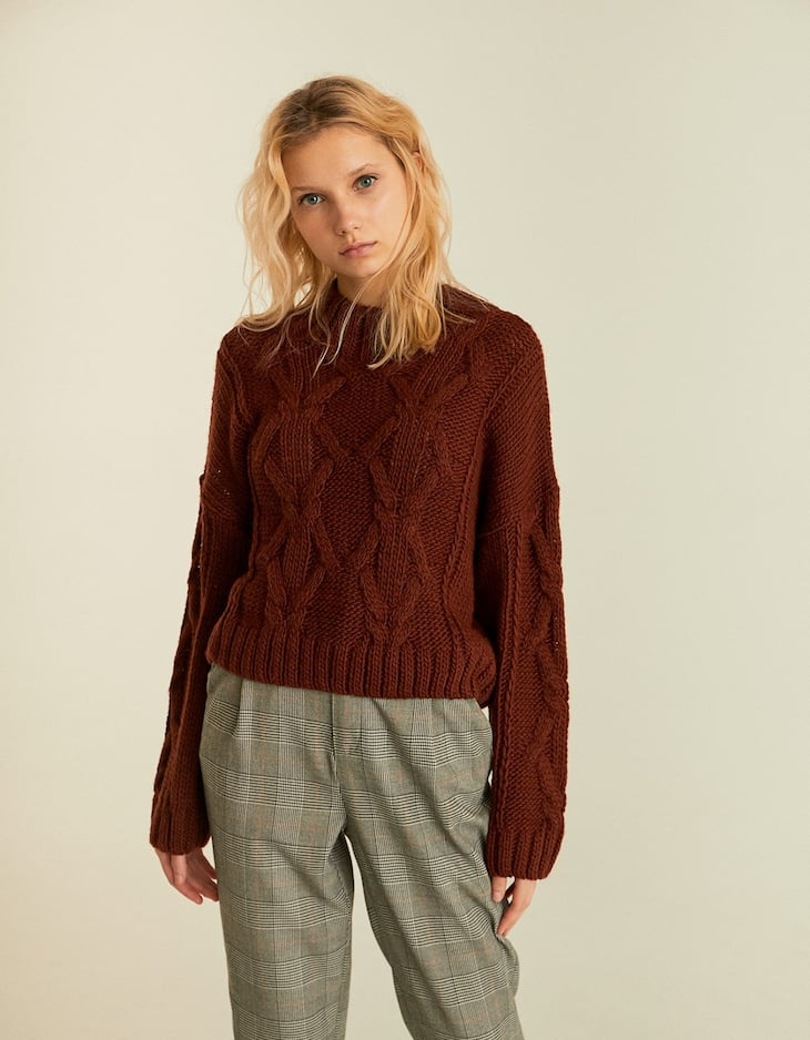 Cable-knit semi-turtleneck sweater