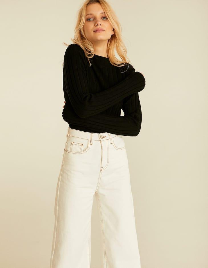 Ribbed long sleeve semi-turtleneck sweater