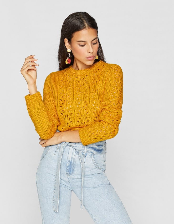 Cropped-Pullover mit Lochmuster