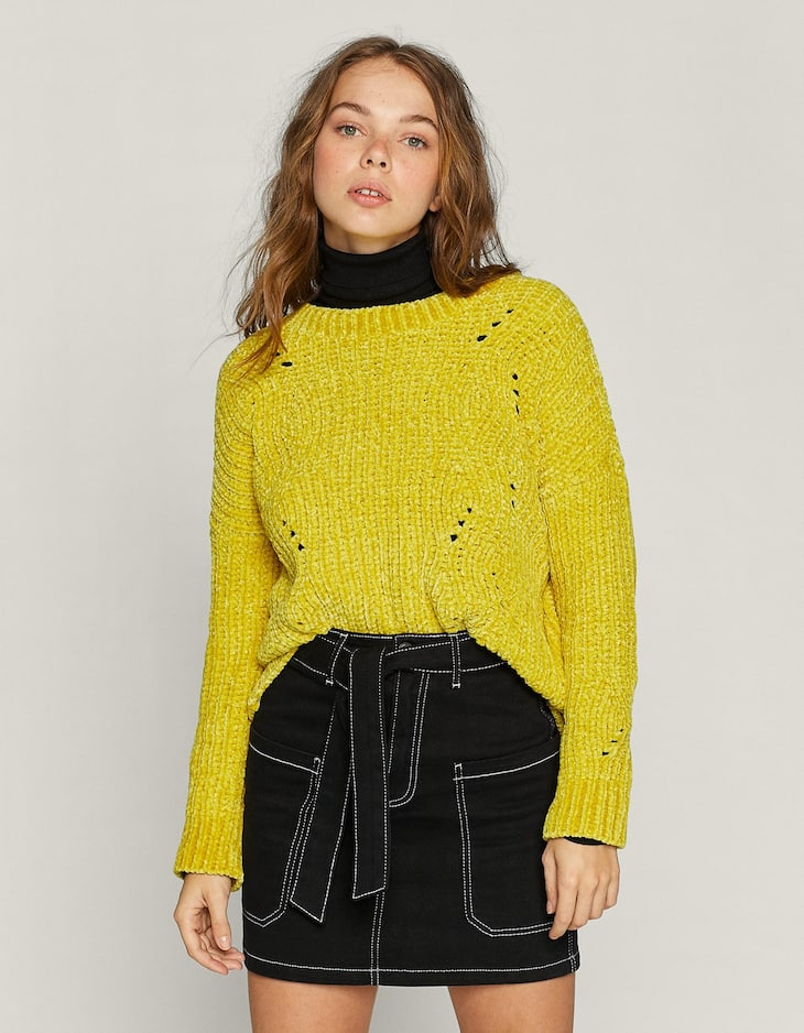Cable-knit chenille sweater