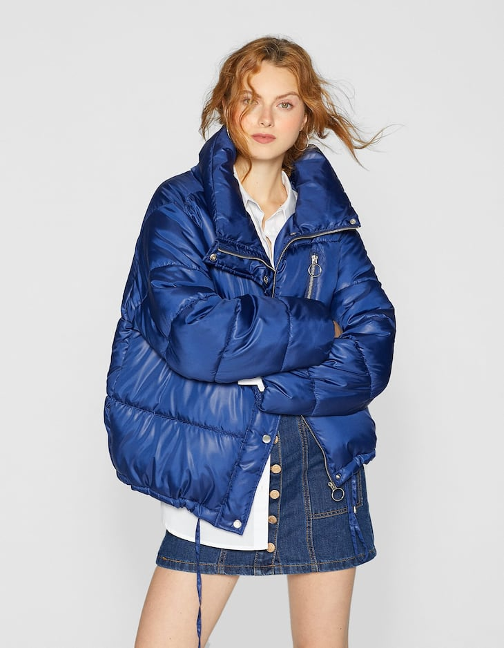 Puffer Jacket With Zip Detail And Detachable Hood