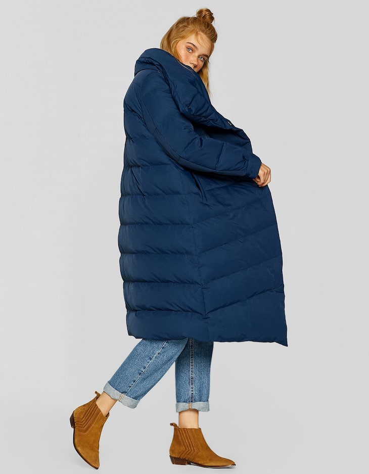 Long down puffer anorak with wraparound collar