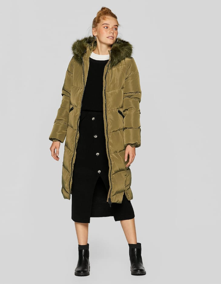 Long down puffer coat faux fur hood