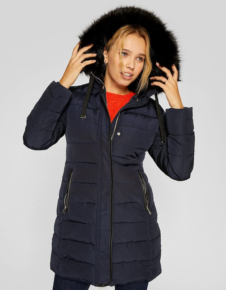 Long tailored puffer anorak