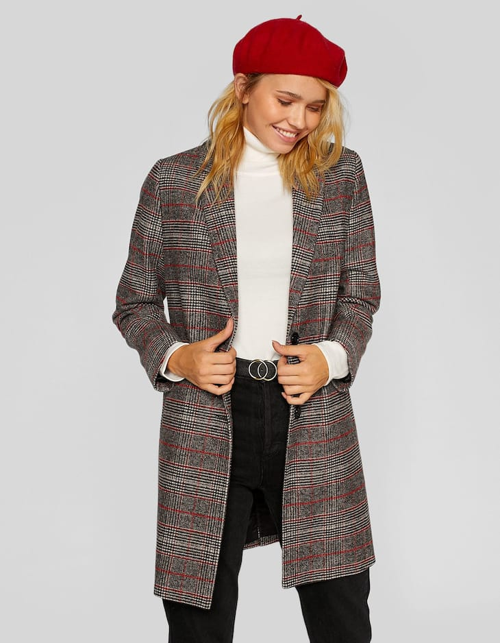 Basic checked coat