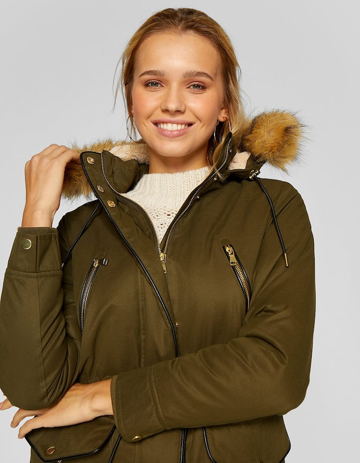 Parka with faux fur-trimmed hood