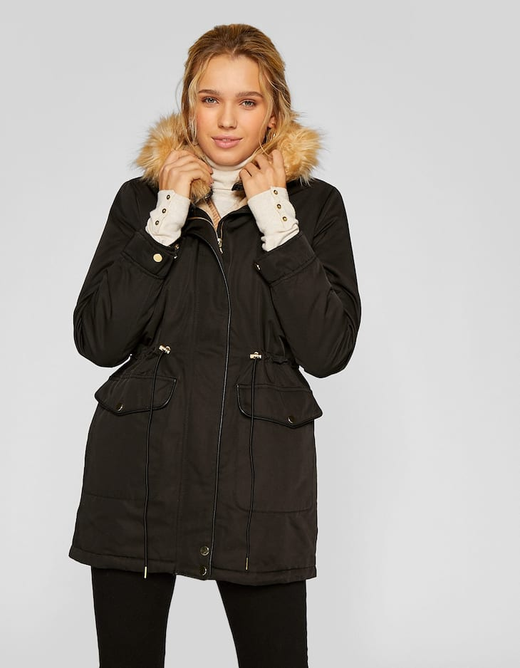 Hooded parka with faux fur lining