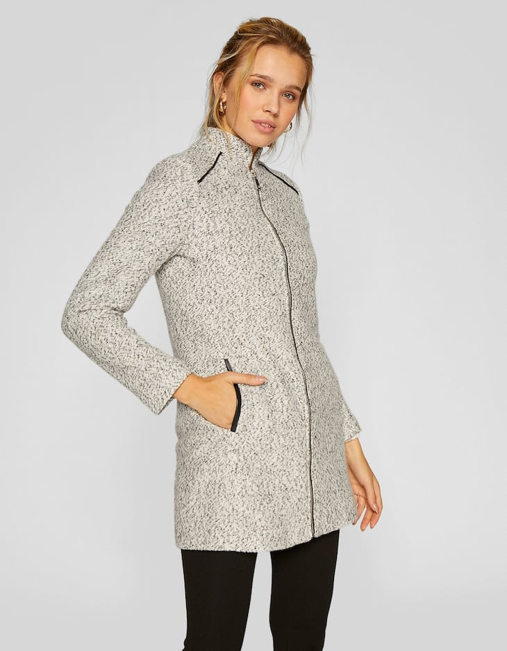 Knit coat with zip