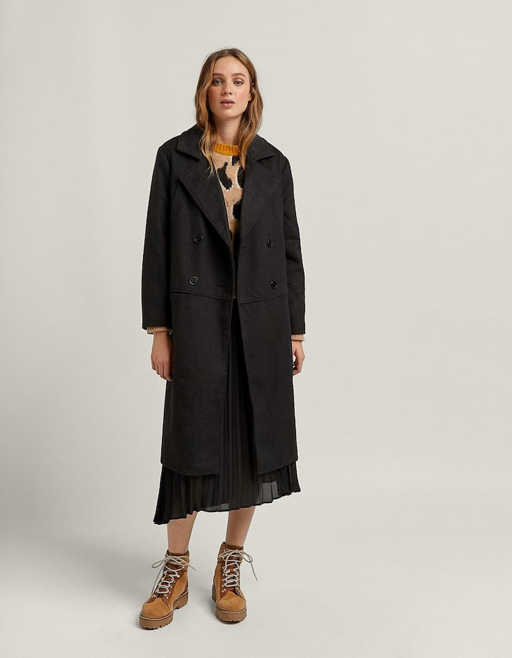 Woolly coat with pockets