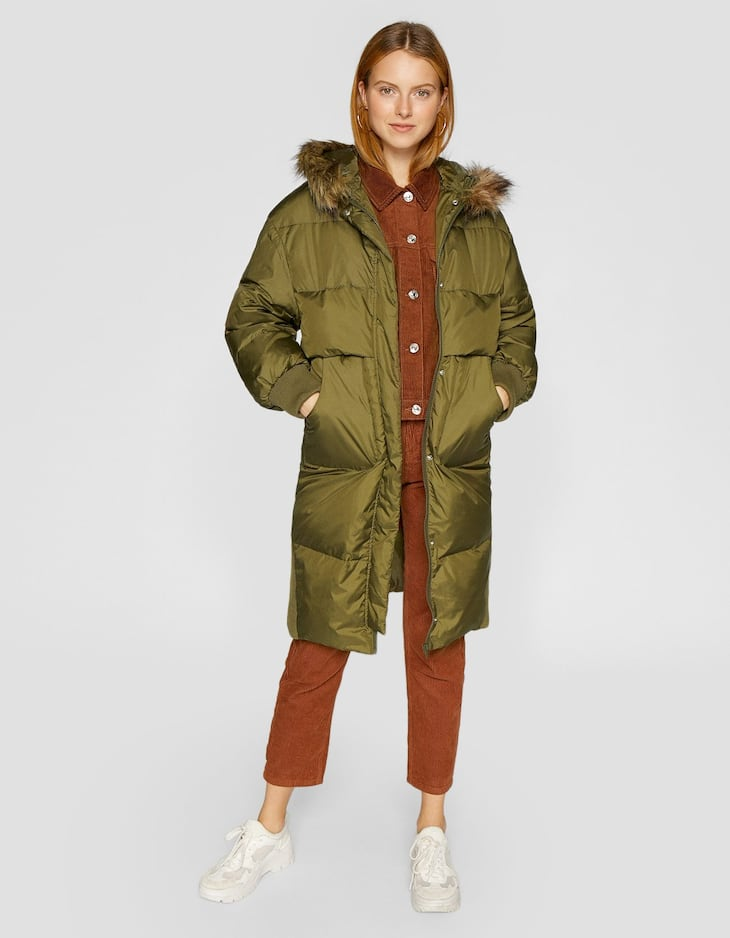 Ribbed down puffer anorak