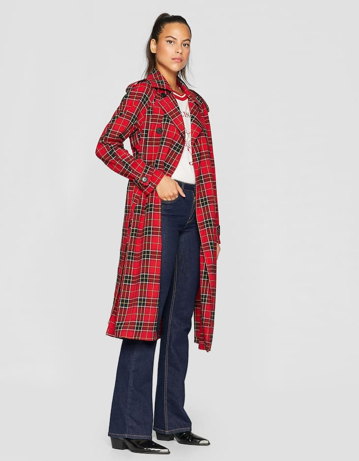 Long red checked trench coat