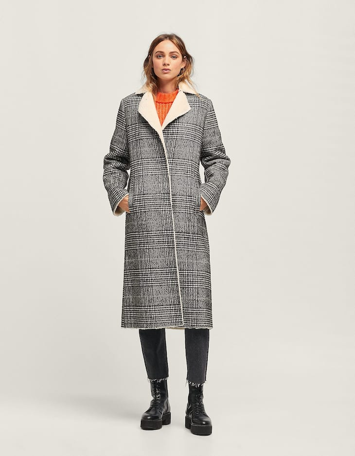 Checked cloth coat with faux shearling