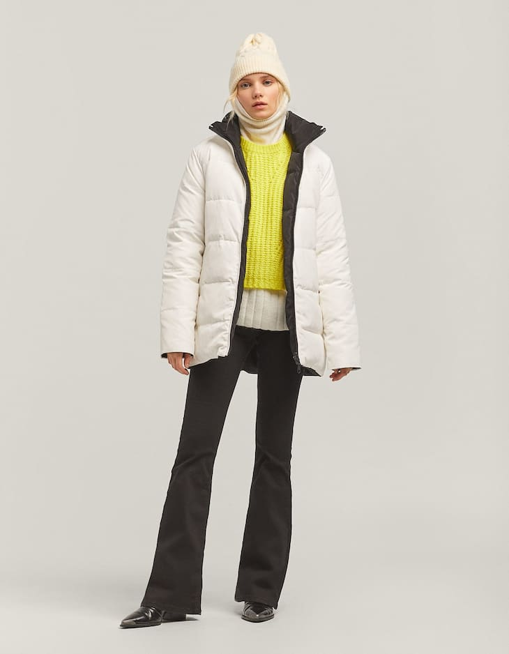 Reversible down puffer coat