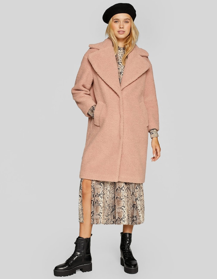 Long faux shearling coat