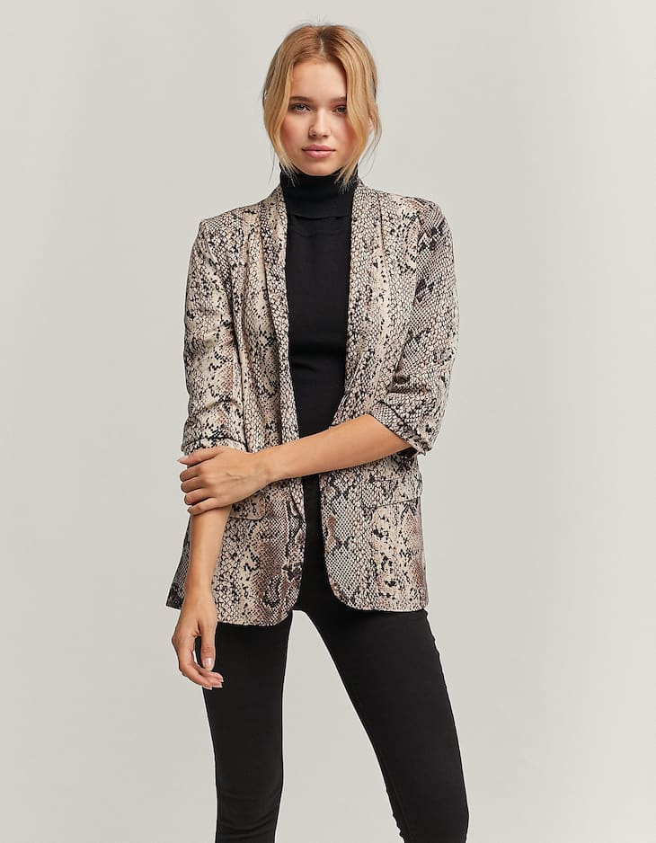 Gathered sleeve snakeskin blazer