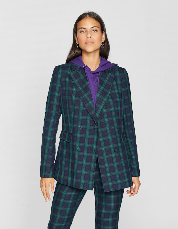 Checked blazer with buttons