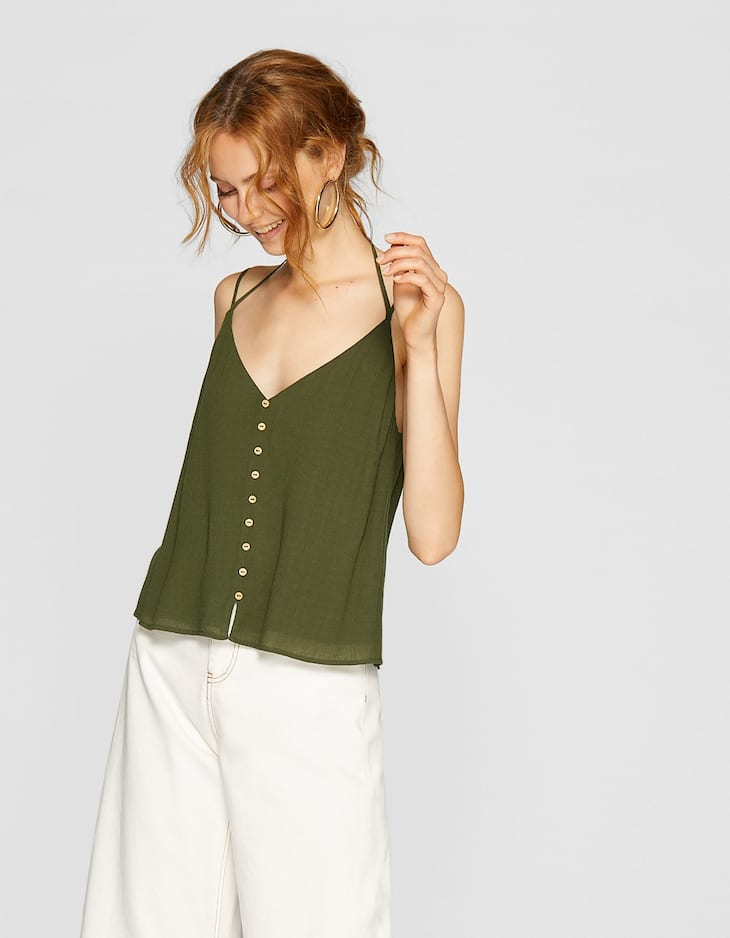 Button-up top with thin straps