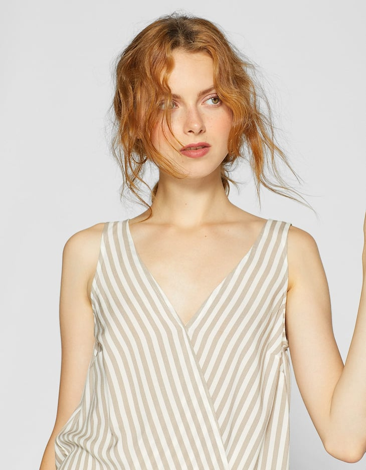 Striped wrap sleeveless shirt