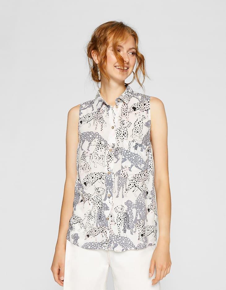 Bedrukte mouwloze blouse
