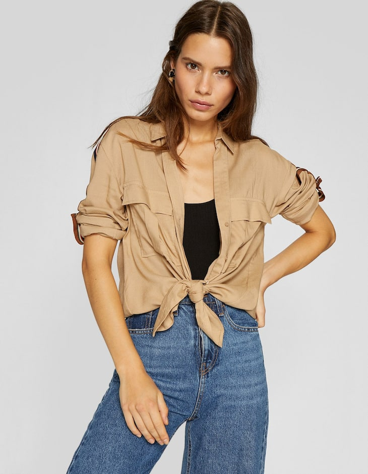 Utility shirt with shoulder stripes