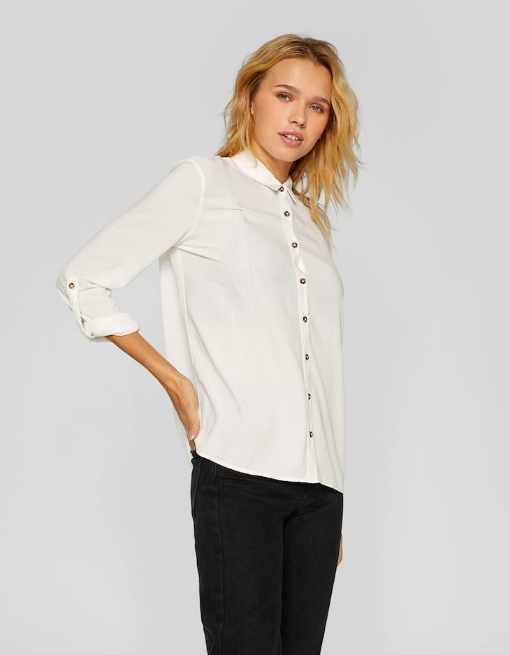 Flowing button-up shirt