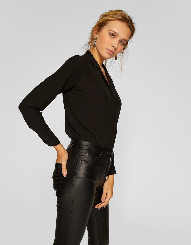 Lapel collar bodysuit