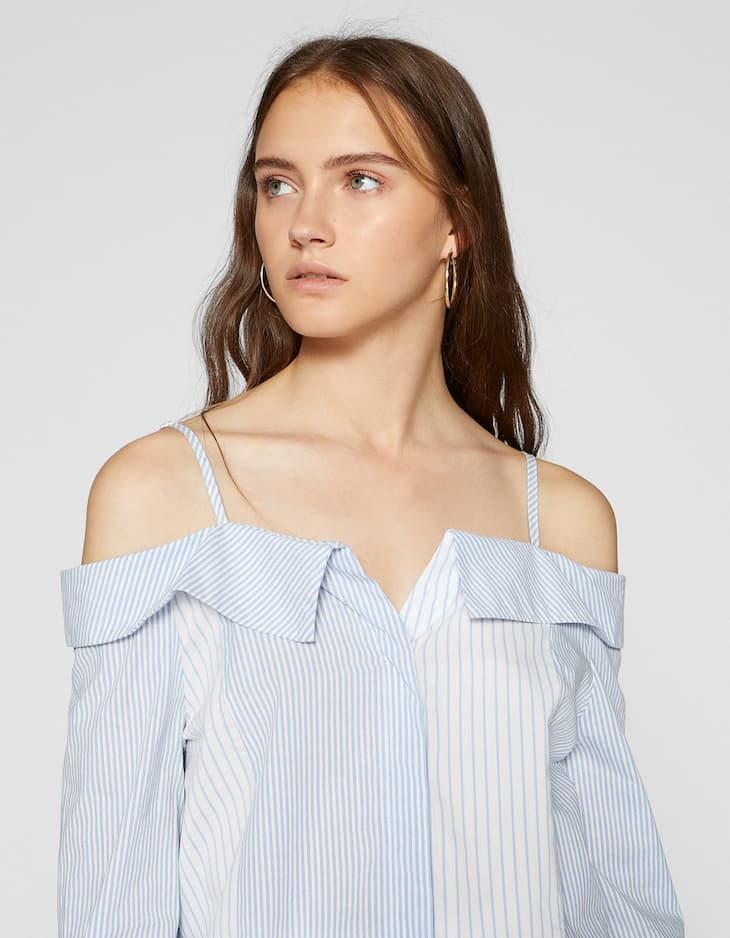 Striped off-the-shoulder shirt