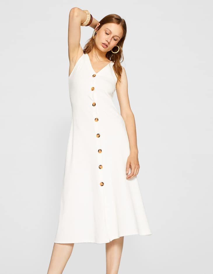V-neck dress with front buttons