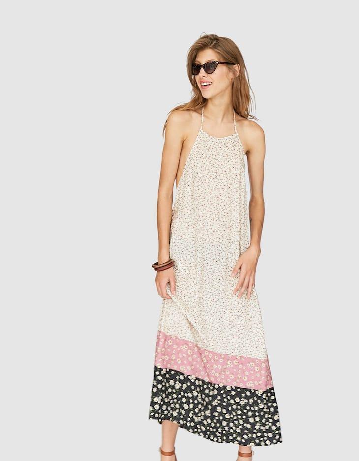 Vestido largo escote cuadrado