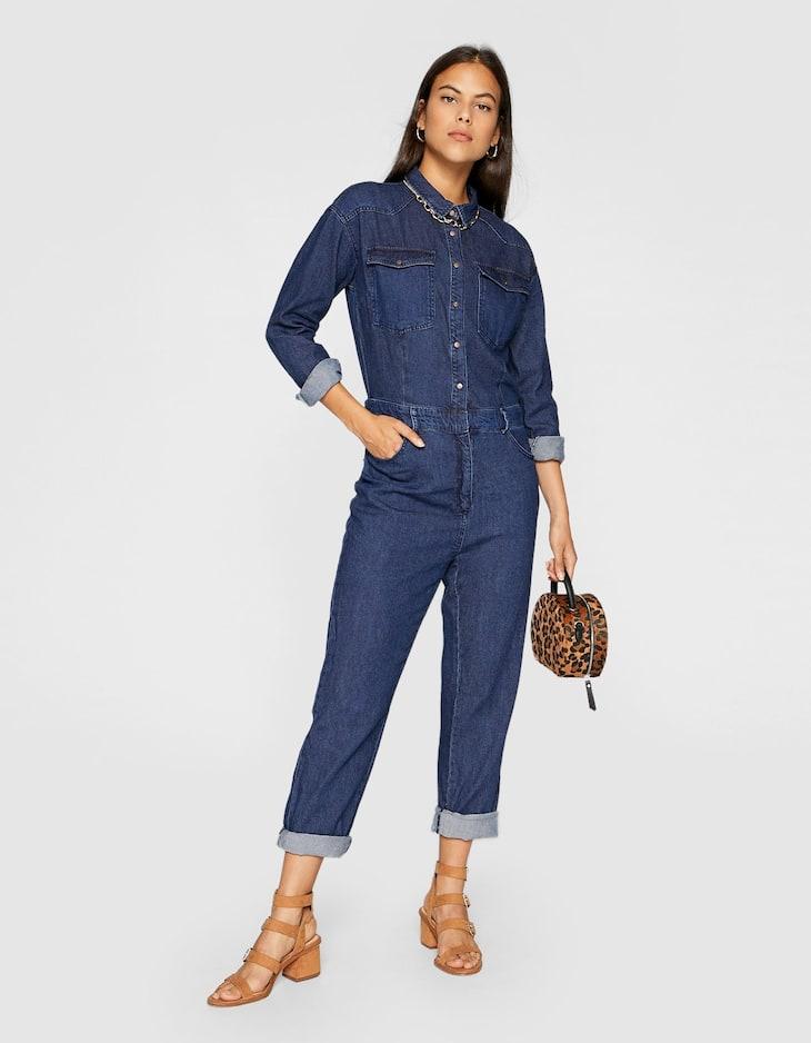 Длинный джинсовый комбинезон