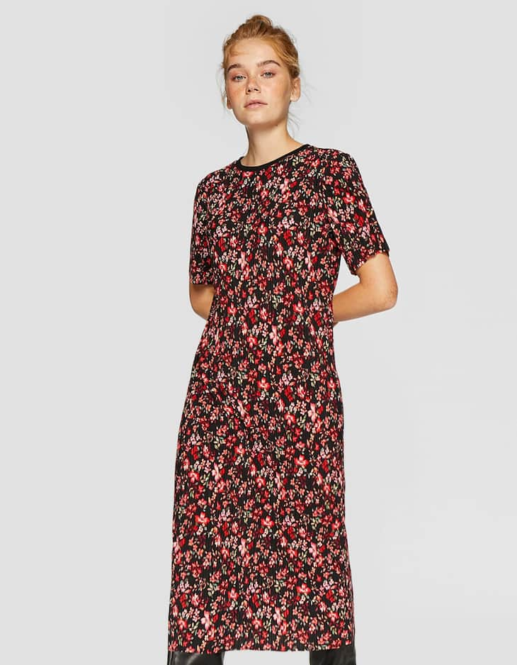 Printed midi dress with pleated detailing