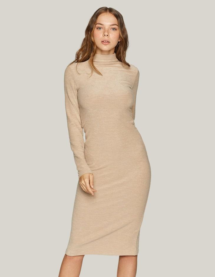 Dik yaka midi elbise