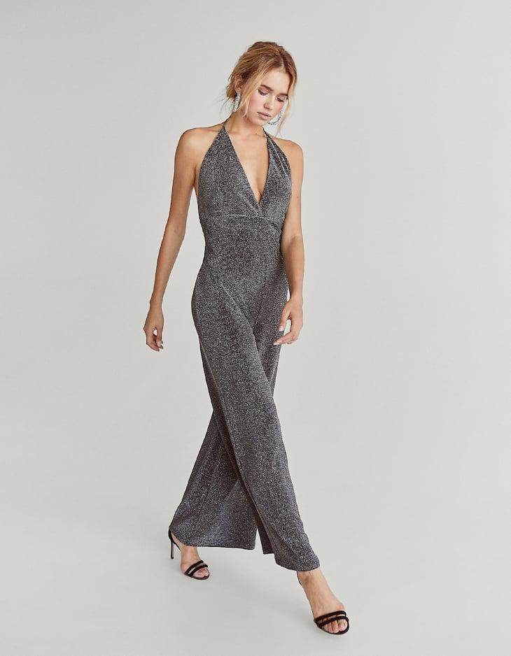 Halter neck jumpsuit with metallic thread